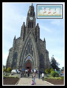 A Igreja é enorme, vejam como estamos pequenos na foto.