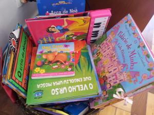 """Vejam a nossa """"cesta"""" de livros."""