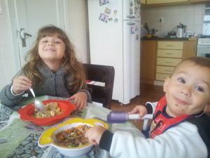 Fiquei tão feliz que eles comeram tudo!